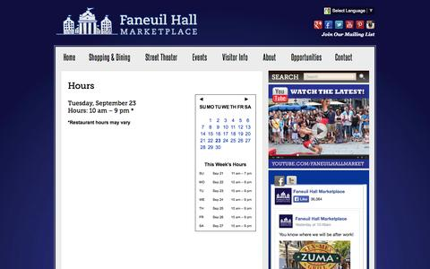 Screenshot of Hours Page faneuilhallmarketplace.com - Mall Hours :: Faneuil Hall Marketplace :: Mall in Boston, MA - captured Sept. 23, 2014