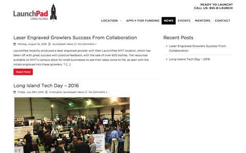 Screenshot of Press Page launchpadli.com - News - LaunchPad - captured Aug. 3, 2016