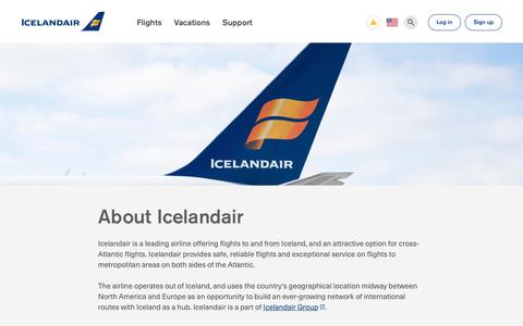 Screenshot of About Page icelandair.com - About Icelandair - A Leading Airline to Iceland & Europe   Icelandair - captured Sept. 12, 2018