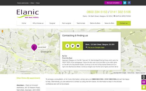 Screenshot of Contact Page Maps & Directions Page elanic.co.uk - Contact Us - Elanic - captured Oct. 22, 2014
