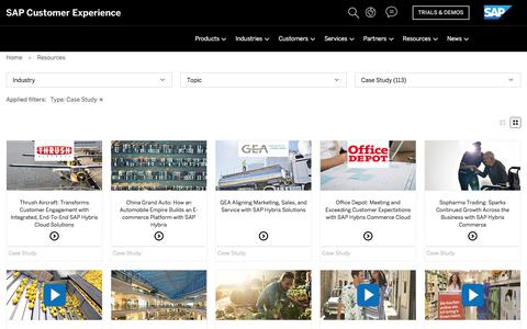 Screenshot of Case Studies Page sap.com - E-Commerce Library, Whitepapers, Studies and webinars from hybris | SAP Hybris - captured June 15, 2018