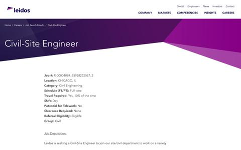 Screenshot of Jobs Page leidos.com - Civil-Site Engineer in CHICAGO, IL - Leidos - captured Jan. 29, 2019
