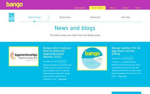 Screenshot of Press Page bango.com - News & blogs | Bango - captured Dec. 2, 2015