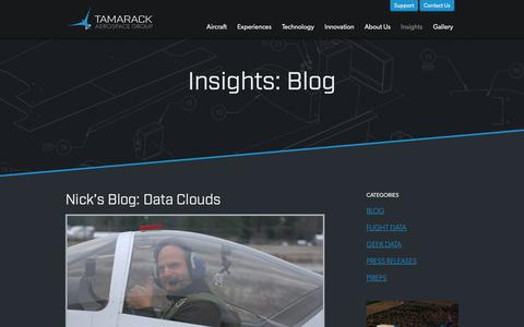 Screenshot of Blog tamarackaero.com - Blog | Insights | Tamarack Aerospace - captured Oct. 20, 2018