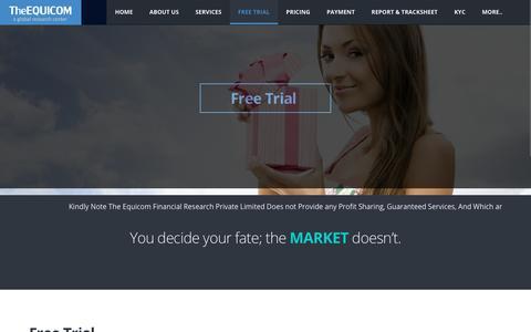 Screenshot of Trial Page theequicom.com - Equity Tips Free Trial | Commodity Tips on Mobile | TheEquicom - captured Nov. 8, 2018