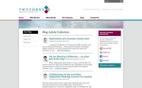 Screenshot of Blog twyfords.com.au - Our Blog | Twyfords - Specialists in Collaboration - captured Jan. 12, 2016