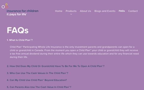 Screenshot of FAQ Page insuranceforchildren.ca - FAQs - Insurance for Children - captured Jan. 8, 2016