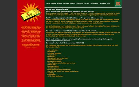 Screenshot of Services Page doproductions.com - DO Productions - Services - captured Sept. 30, 2014
