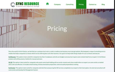 Screenshot of Pricing Page sync-resource.com - Pricing | Sync Resource - captured Dec. 6, 2016