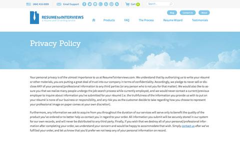 Screenshot of Privacy Page resumetointerviews.com - Privacy Policy - Resume to Interviews - captured Sept. 22, 2014