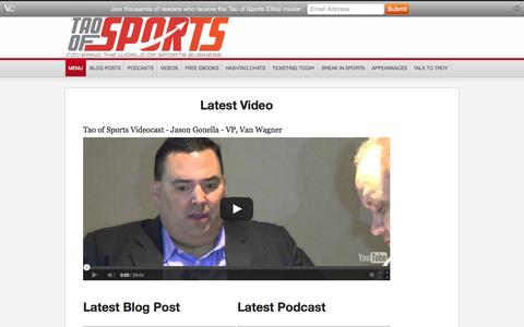 Screenshot of Home Page Menu Page sportstao.com - The Tao of Sports - captured Oct. 6, 2014