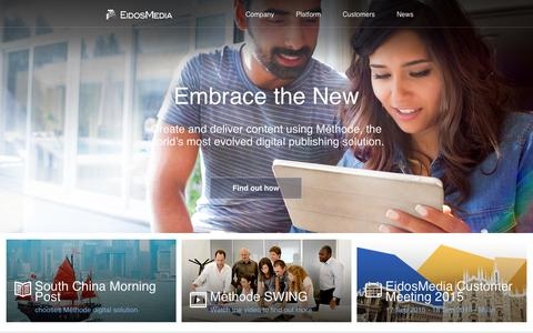 Screenshot of Home Page eidosmedia.com - EidosMedia - captured July 19, 2015