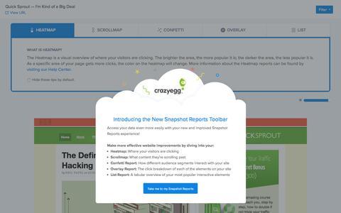 Screenshot of Demo Page crazyegg.com - Crazy Egg - Quick Sprout — I'm Kind of a Big Deal - Report - captured Aug. 11, 2018