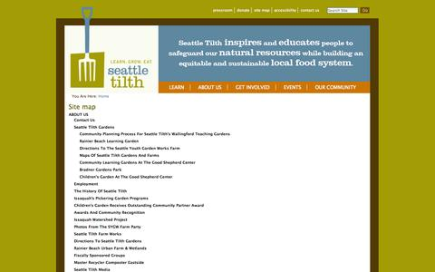 Screenshot of Site Map Page seattletilth.org - seattletilth.org - captured Oct. 27, 2014