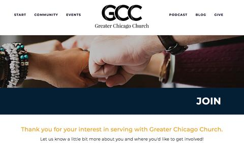 Screenshot of Signup Page greaterchicagochurch.com - Join ⋆ Greater Chicago Church - captured July 24, 2018