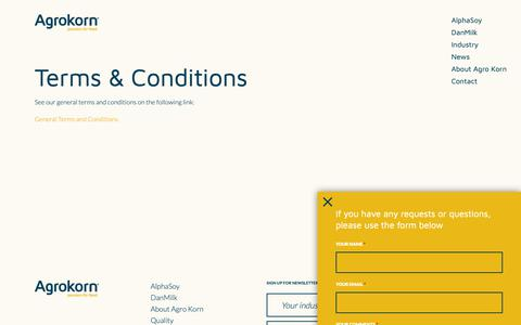 Screenshot of Terms Page agrokorn.com - Terms & Conditions   Agro Korn - captured Oct. 3, 2018