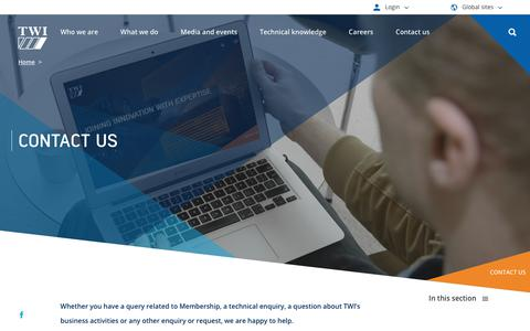 Screenshot of Contact Page twi-global.com - TWI - Contact Us - captured Dec. 12, 2018