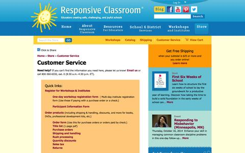 Screenshot of Support Page responsiveclassroom.org - Customer Service | Responsive Classroom - captured Sept. 24, 2014