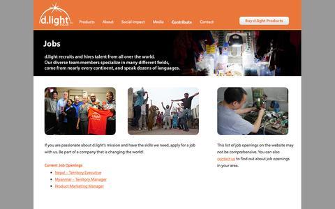 Screenshot of Jobs Page dlightdesign.com - Jobs | d.light - captured Sept. 15, 2014