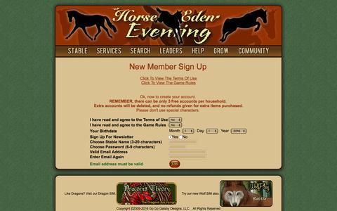 Screenshot of Signup Page horseeden.com - Horse Eden Eventing - captured Sept. 7, 2016