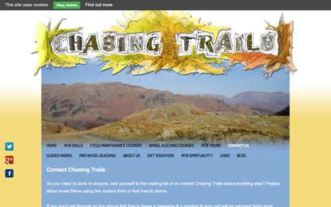 Screenshot of Contact Page chasingtrails.com - Contact Chasing Trails by email or phone - captured Sept. 29, 2014