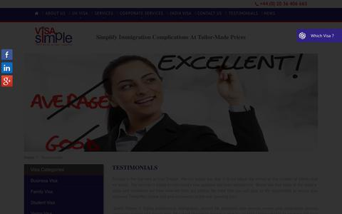 Screenshot of Testimonials Page visasimple.com - Testimonial|UK Visa | Visa Simple - captured Dec. 18, 2019