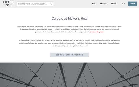 Screenshot of Jobs Page makersrow.com - Jobs | Maker's Row - Factory Sourcing Made Easy - captured Oct. 10, 2014