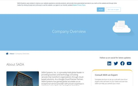 Screenshot of About Page sadasystems.com - Company Overview - SADA Systems | Premier Cloud Solutions Provider | Google Cloud - captured July 24, 2019