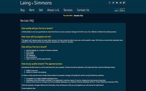 Screenshot of FAQ Page lsre.com.au - House Rental Questions – FAQ – Laing+Simmons - captured Jan. 24, 2016
