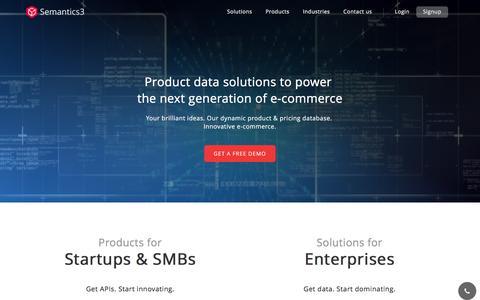 Screenshot of Home Page semantics3.com - Semantics3 - captured Sept. 21, 2016