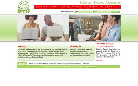 Screenshot of Home Page safaricomdealers.com - Safaricom Dealers Association - Home - captured Oct. 3, 2014