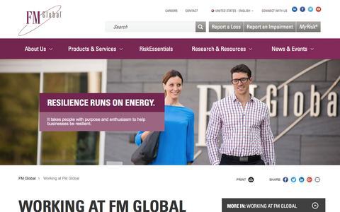Screenshot of Jobs Page fmglobal.com - Careers at FM Global – FM Global - captured July 4, 2016
