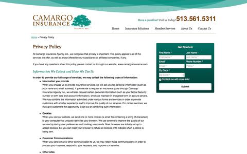 Screenshot of Privacy Page camargoinsurance.com - Privacy Policy | Camargo Insurance Agency Inc. of Cincinnati Ohio - captured Sept. 26, 2018