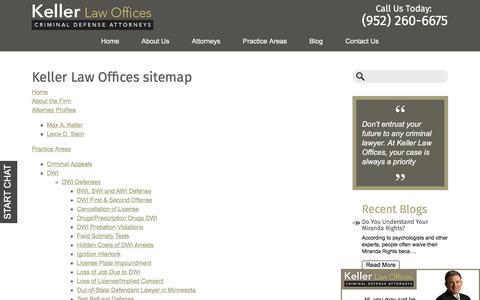 Screenshot of Site Map Page kellerlawoffices.com - Sitemap | Keller Law Offices | Criminal Defense Attorney in Minnesota - captured Sept. 20, 2018