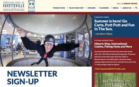 Screenshot of Signup Page visitfayettevillenc.com - Newsletter Sign-Up - captured July 6, 2018