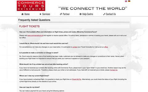 Screenshot of FAQ Page commercetours.at - FAQ - Commerce Tours Reisebüro - captured Oct. 2, 2014