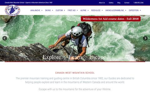 Screenshot of Home Page themountainschool.com - Canada West Mountain School - Mountain guiding   Avalanche skills   Outdoor instruction - captured Sept. 26, 2018
