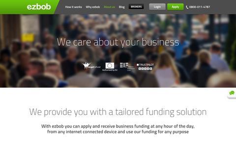 Screenshot of About Page ezbob.com - ezbob - 24/7 Business Loans | About Us - captured June 17, 2015