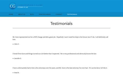 Screenshot of Testimonials Page ctgore.com - Christopher T. Gore Attorney at Law | Our Testimonials - captured July 30, 2017