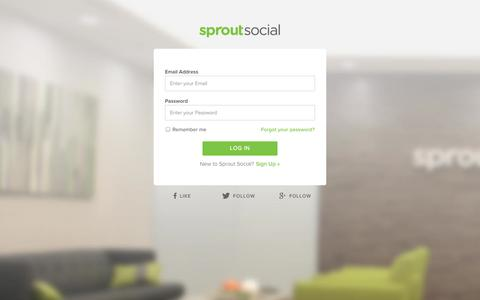 Screenshot of Login Page sproutsocial.com - Login | Sprout Social - captured Oct. 28, 2014