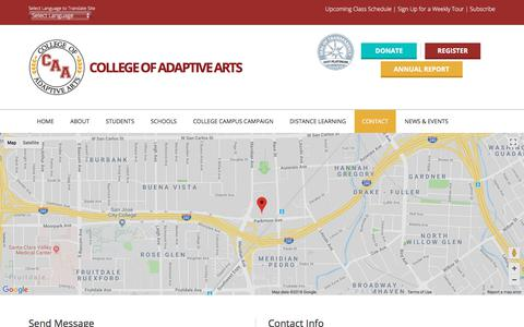 Screenshot of Contact Page collegeofadaptivearts.org - Contact – College of Adaptive Arts - captured July 8, 2018