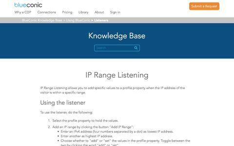 Screenshot of Support Page blueconic.com - IP Range Listening – BlueConic Knowledge Base - captured May 2, 2018