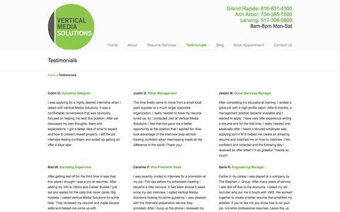 Screenshot of Testimonials Page vmsolu.com - Resume Service Reviews And Testimonials | Vertical Media Solutions - captured Oct. 20, 2017