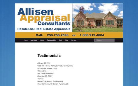 Screenshot of Testimonials Page allisenappraisals.com - Testimonials | Allisen Appraisal Consultants - captured Oct. 4, 2014