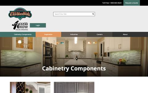 Screenshot of Products Page eliaswoodwork.com - Cabinetry Components - captured Feb. 14, 2019