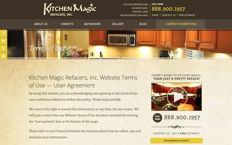 Screenshot of Terms Page kitchenmagic.net - Terms Of Use for Kitchen Magic Refacers | Maryland - captured Oct. 15, 2018