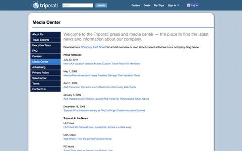 Screenshot of Press Page triporati.com - Media Center - Triporati - captured Sept. 17, 2014
