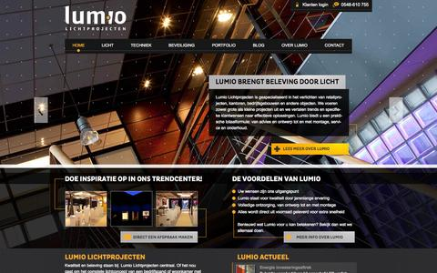 Screenshot of Home Page lumio.nl - Lumio Lichtprojecten – Voor optimale lichtbeleving - Lumio - captured Oct. 3, 2014