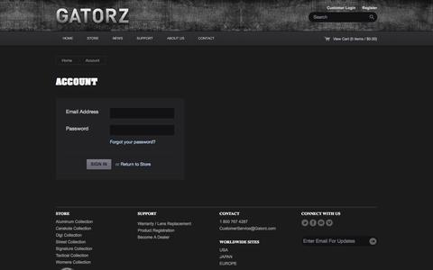 Screenshot of Login Page gatorz.com - Gatorz Eyewear — Account - captured Sept. 19, 2014