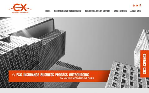 Screenshot of Home Page cxis.com - CX Insurance Services - A Different Approach to P&C Insurance BPO - captured July 10, 2018